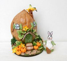 Fall harvest micro fantasy house in a walnut shell with tiny bunny and pumpkins patch BY LORY Walnut shell and cold porcelain