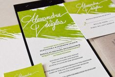 Green Painterly Letterpress Wedding Invitations Heavy Metal Letterpress2 550x366 Alexandra + Dougs Green and Kraft Graphic Wedding Invitatio...