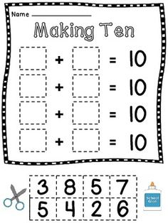 Tyler Foltz Anderson - thought of you. Making 10 cut and pastes! Kindergarten Math Worksheets, Teaching Kindergarten, Math Activities, Daily 5 Math, Math About Me, Math Addition, Math Numbers, 1st Grade Math, Making 10