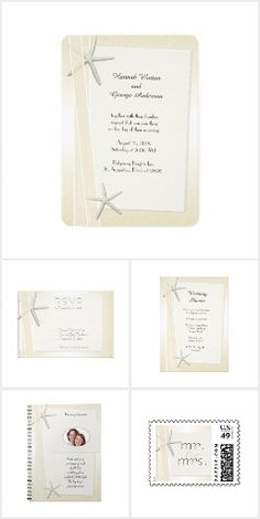Suite: Bay side Elegant Starfish Wedding Invitation Set. These nautical wedding invitation sets / stationary / suites may include: Wedding invitation cards, wedding envelopes, wedding RSVP Cards, wedding address labels, save the dates, wedding programs, wedding thank you cards, rehearsal dinners and more matching wedding products.