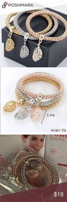 Bundle of 3 Bracelets Brand new in package- you will get all 3 bracelets- color for each bracelet is silver, gold and rose gold - material is zinc alloy - bracelets are stretchy and will fit most wrists Jewelry Bracelets