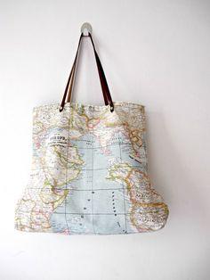 World Map Medium Tote Bag. € 35.00, via Etsy.