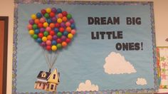 From the movie Up, Bulletin board for summer, winter, spring.anytime of the year! - Our Speech is Sky High . Bulletin Board Design, Church Bulletin Boards, Classroom Bulletin Boards, Classroom Crafts, Classroom Themes, Preschool Door, Preschool Crafts, Toddler Art, Toddler Crafts