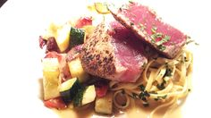 Mancy's Bluewater Grille Chef's Feature  @mancysbluewatergrillechefsfeature Pan Seared Ahi Tuna with Lime Pepper Crust linguini, red pepper, squash, zucchini, red onion medley...  http://mancys.mdom.mobi/bluewatergrille