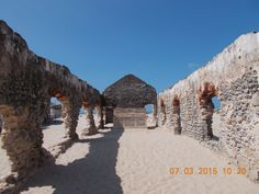 Abandoned ruins of Dhanushkodi Ghost town destroyed in 1964 cyclone.