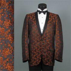 Vintage 1960 Mens Tuxedo Jacket --  Copper Roses Damask Shawl Collar Mens Vintage Dinner Jacket 42L