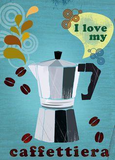 I am a coffee lover-caffettiera by Elisandra Coffee Illustration, Graphic Design Illustration, Illustration Art, Coffee Cafe, Coffee Shop, Cafe Rico, Café Chocolate, Vincent Van Gogh, Industrial Design Sketch