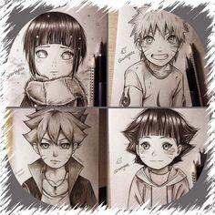 Uzumaki Family Drawings- Hinata, Naruto, Himawari, Boruto ❤️❤️❤️