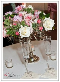 Kimberly Lyddane Photography, Valentine Richmond History Center in Richmond Virginia, Rose Candlestick Centerpiece  #wedding @VisitRichmond VA