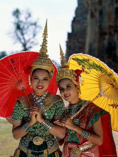 """Girls Dressed in Traditional Dancing Costume, Bangkok, Thailand"""
