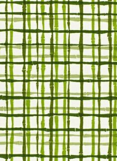 """Bamboo Shadows Green.  Schumacher Fabric - Fabric Content - 55% Linen / 45% Cotton. Bamboo plaid print. H 24"""" - V 21.75"""" up the roll repeat. Made in U.S.A. 48"""" wide."""