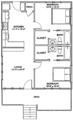 Rustic Porch Ideas All homes need furniture. The Plan, How To Plan, Small House Floor Plans, Cabin Floor Plans, Small Bathroom Floor Plans, House 2, Cottage House, Plan Chalet, 2 Bedroom House Plans