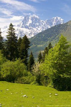 Mountain scenery of Svanetia with Mount Ushba in the background, Georgia