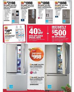 Home Depot Black Friday 2017 Ads and Deals As usual, Home Depot is one of the best Black Friday sales for huge discounts on major appliances, home improvement, tools, and gardening items. 4 Door Refrigerator, Stainless Steel Refrigerator, Best Black Friday Sales, Black Friday 2019, Brunswick Ohio, Home Depot Coupons, Sale Promotion, Printable Coupons, French Doors