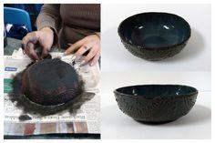 Molded slip trailed bowl by Karen