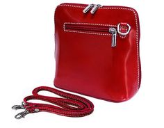 SMALL DEEP RED GENUINE LEATHER BAG WITH LONG SHOULDER STRAP, £22.99
