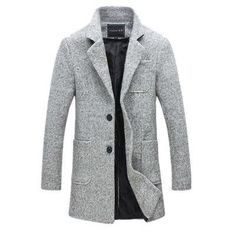 40% Wool Thick Trench Coat Men's Jacket