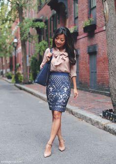 high waist pencil skirt with bow blouse