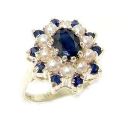 Fabulous Solid 14K White Gold Natural Sapphire & Pearl 3 Tier Large Cluster Ring - Size 8 - Finger Sizes 5 to 12 Available  http://electmejewellery.com/jewelry/rings/statement/fabulous-solid-14k-white-gold-natural-sapphire-pearl-3-tier-large-cluster-ring-size-8-finger-sizes-5-to-12-available-com/