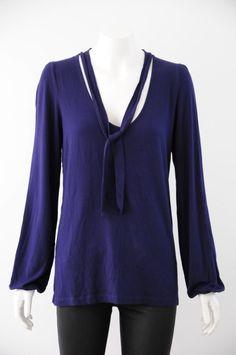 David Lawrence  Women s Blue Long Sleeve Scoop Neck Top {Size 12}
