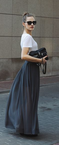 grey maxi skirt with white tee