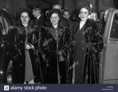 Nazli Sabri, - Queen Consort of Egypt - with her daughters Fathia and Fakia, arrival i Stock Photo Fur Fashion, Fashion History, Egyptian, Stock Photos, Queen, Daughters, Famous People, Royalty, Photography
