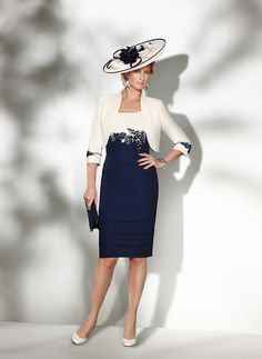 Condici - Condici motehr of the bride dress and bolero navy and cream 12 - Fab Frocks Online Boutique Special Occasion Outfits, Occasion Wear, Occasion Dresses, Mother Of Bride Outfits, Mother Of The Bride, Groom Outfit, Groom Dress, Evening Dresses, Prom Dresses
