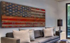 Reclaimed Wood Wall Art   USA Flag Reclaimed Douglas Fir Wood Wall Art