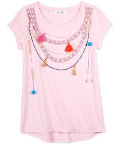 Jessica Simpson Pom-Pom and Tassel Necklace T-Shirt, Big Girls (7-16) | macys.com