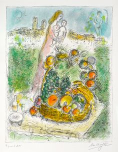 Chagall Hand Signed Color Lithograph | Mother and Child with Basket,1975