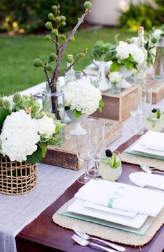 adds interest....woodland, whimsical-bright, centerpieces, decor, decorations, flowers, reception, rustic, setting, table, tables, theme, wedding
