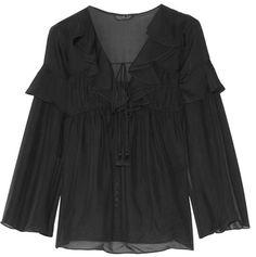 Rachel Zoe - Anna Ruffled Silk-georgette Top - Black