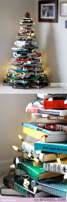 Christmas Tree of Books might have to do this if I don't get the tree up!