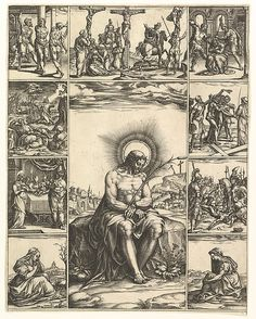 The Man of Sorrows; an image of Christ surrounded by nine vignettes depicting scenes of the Passion Artist: Engraved by Giorgio Ghisi (Italian, Mantua ca. 1520–1582 Mantua) Date: by 1575 Medium: Engraving
