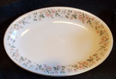 "Vintage Noritake China 5415 Peach Green Floral - 12"" Oval Serving Platter"