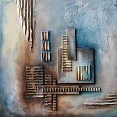 Krea d 'IngeN: Abstract - collage with corrugated cardboard Mixed Media Collage, Mixed Media Canvas, Collage Art, Art Texture, Texture Painting, Modern Art Movements, Encaustic Art, Mix Media, Abstract Photography