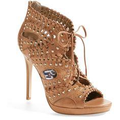 Sam Edelman Elyse Studded Platform Heel Sandal ($150) ❤ liked on Polyvore featuring shoes, sandals, vintage rose leather, cut out sandals, heeled sandals, lace-up sandals, high heel shoes e platform shoes
