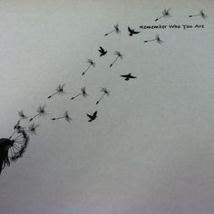 Love the dandelion in the wind... Start to a wonderland type dreamy tat