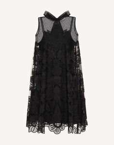 REDValentino Point D'esprit Tulle Dress With Cut Out Organza Embroidery - Short Dress for Women Black Tulle Dress, Short Dresses, Summer Dresses, Party Dresses, Beautiful Outfits, Beautiful Clothes, High Collar, Thick Thread, How To Wear