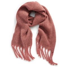 Women's David & Young Plush Marled Fringe Scarf ($29) ❤ liked on Polyvore featuring accessories, scarves, mauve, fringe shawl and fringe scarves