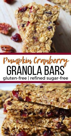 Healthy and easy recipes for snacks are my favorite! Check out these Pumpkin Cranberry Granola Bars for a great Fall, on-the-go snack. These granola bars are gluten-free and refined sugar-free, thanks to a little honey. Chewy and filled with dried fruit, Healthy Granola Bars, Healthy Vegan Snacks, Cranberry Recipes Healthy, Healthy Pumpkin Bars, Healthy Recipes, Vegan Protein, Protein Snacks, High Protein, Healthy Eating