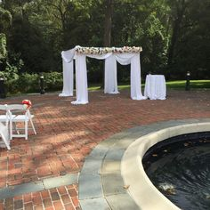 Wedding ceremony pipe and drape cabana at Newton White Mansion in Maryland