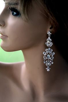 Swarovski Bridal Earrings Pearl earrings Crystal by simplychic93, $64.00