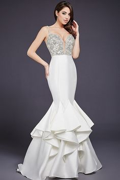 Ivory Embellished Top Mermaid Evening Dress 32355