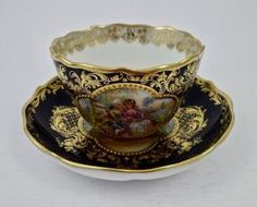 Antique Lamm Dresden Demitasse Cup & Saucer by yvette