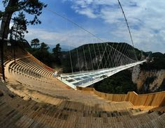 The glass bottom bridge at the Grand Canyon of Zhangjiajie National Forest Park.  Zhangjiajie City in northern Hunan Province in the People's Republic of China.