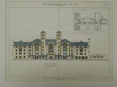 Antlers Hotel Competitive Design, Colorado Springs, CO, 1899, Original Plan. T. McLaren.