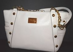 MICHAEL KORS Vanilla Leather Delancy Medium Shoulder  Chain Tote NWT RARE $448