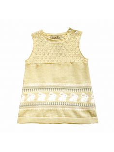 MeMini Aimi Dress Pale Yellow, gul kjole med kaninmotiv