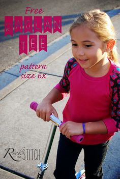 Free raglan tee PDF pattern size 6x/7 from Rock the Stitch. Options for full or cropped length and long or 3/4 sleeves.